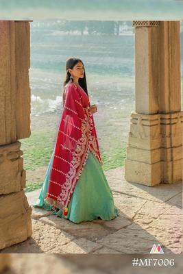 Red Linen Floral Embroidered Festive Dupatta