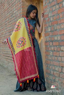 Lemon Yellow Circle Embroidered Lining Panel Linen Festive Dupatta