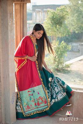 Traditional Motif Embroidered Panel Linen Festive Dupatta