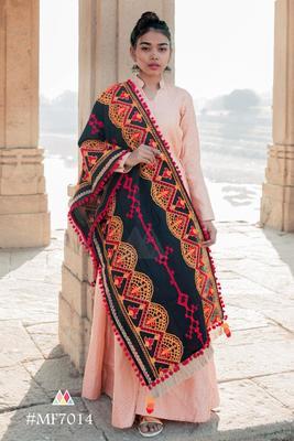Black Traditional Embroidered Linen Festive Dupatta