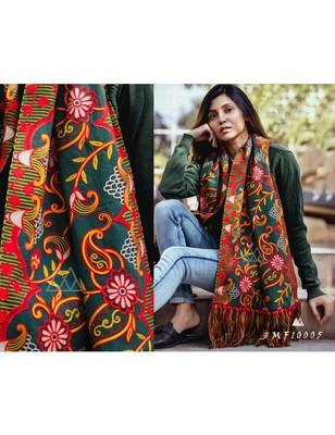 Deep Green Woollen Heavily Embroidered Khadi Muffler