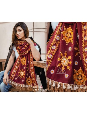 Deep Wine Snow Flake Woollen Embroidered Khadi Muffler