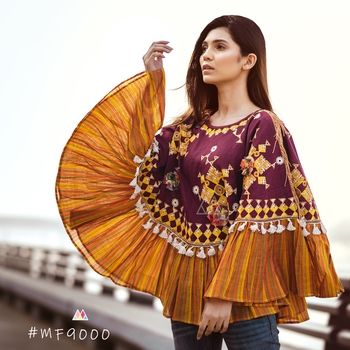 Deep Wine Mustard Frill Circular Poncho With 3D Ponchos