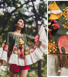Elephant Embroidered Deep Green Khadi Circular Poncho