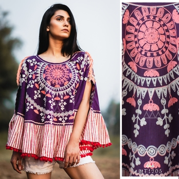 Purple Circular Khadi Poncho With Pompom Lace
