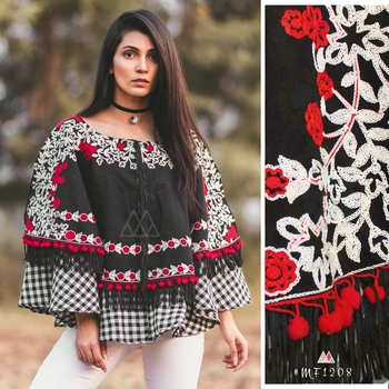 Black Circular Embroidered Khadi Poncho With Chex