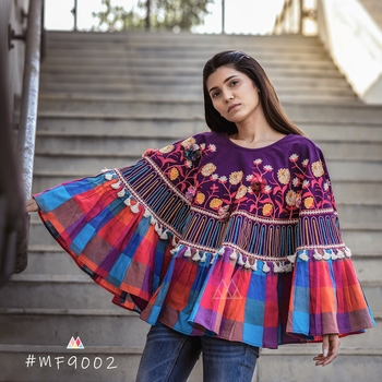 Multi Checks Frill Purple Embroidered Poncho With 3D Flowers