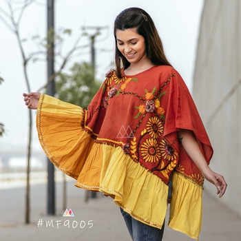 Rust Sunflower Embroidery Assymetric Poncho