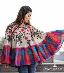 Spring Floral Cream Circular Poncho And Cape With 3D Flowers