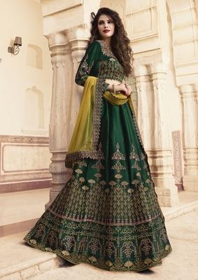 Dark-green embroidered silk semi stitched lehenga