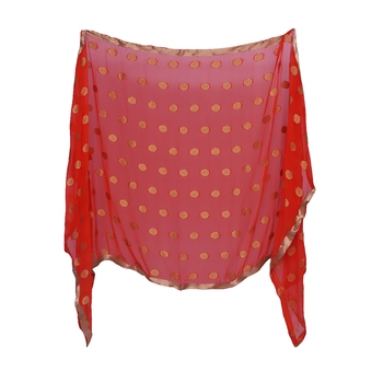 Anoma Red Color Chiffon Dupatta For Women'S & Girls
