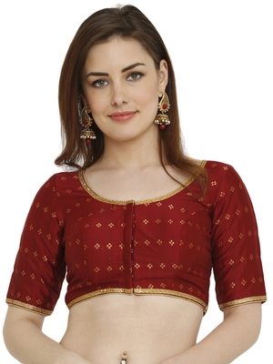 Maroon Dupion Silk Readymade Padded Blouse