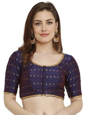 0vy Blue Dupion Silk Readymade Padded Blouse