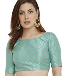 Pista green Dupion Silk Readymade Padded Blouse