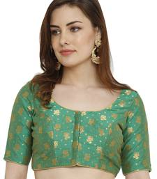Green Dupion Silk Readymade Padded Blouse