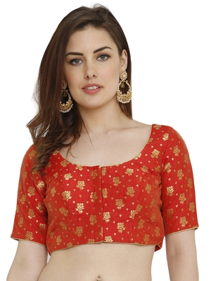 Red Dupion Silk Readymade Padded Blouse