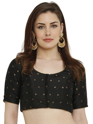 Black Dupion Silk Readymade Padded Blouse