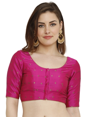 Pink Dupion Silk Readymade Padded Blouse