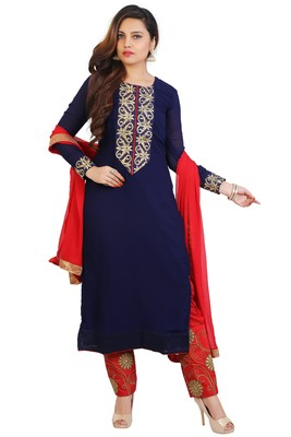 Navy blue embroidered georgette unstitched salwar suits