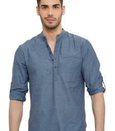 Salwar Studio Men'S Cotton Solid Denim Grey Colour Roll Up Short Kurta