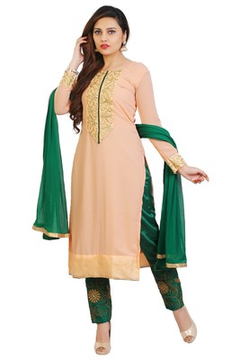 Peach embroidered georgette unstitched salwar suits