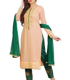 Buy Peach embroidered georgette unstitched salwar suits straight-suit online