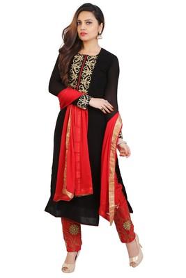 Black embroidered georgette unstitched salwar suits