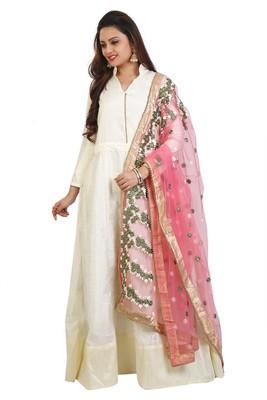 48d71d3c4c Off White bhagalpuri silk embroidered anarkali suits - Daaginey ...