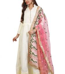 Off White bhagalpuri  silk embroidered anarkali suits