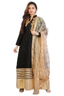 Black bhagalpuri silk patch work anarkali suits
