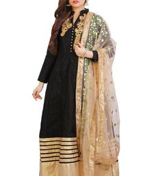 Black bhagalpuri silk patch work anarkali suits