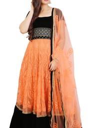 Peach Embroidered Net Anrakali suit with Dupatta anarkali-salwar-kameez