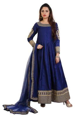 Navy Blue Embroidered Bangalori Silk Anarkali suit with Dupatta