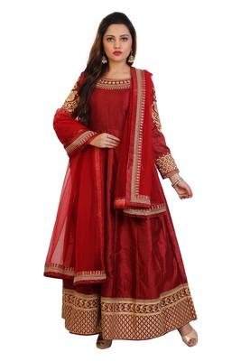 Maroon Embroidered Bangalori Silk Anarkali suit with Dupatta