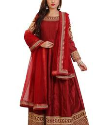 Maroon Embroidered Bangalori Silk Anarkali suit with Dupatta