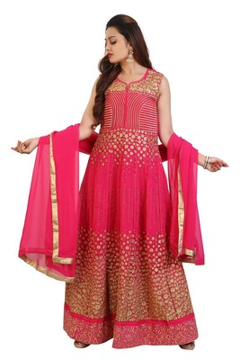 Pink Embroidered Georgette Anarkali Suit with Dupatta