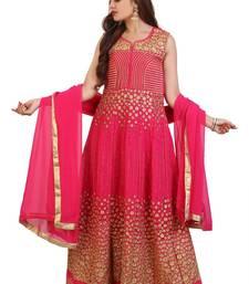 Buy Pink Embroidered Georgette Anarkali Suit with Dupatta wedding-salwar-kameez online