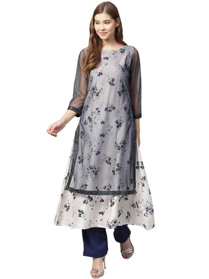 Blue printed polyester kurtas-and-kurtis