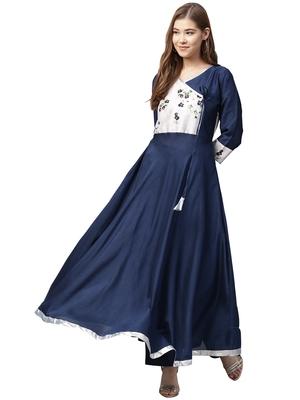 Blue printed polyester kurtas-and-kurtis