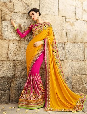 Mustard embroidered georgette saree with blouse