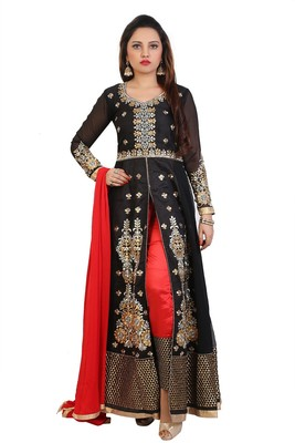Black  Embroidered Georgette Semi stitched Anarkali with Pant