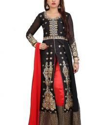 Buy Black  Embroidered Georgette Semi stitched Anarkali with Pant wedding-salwar-kameez online
