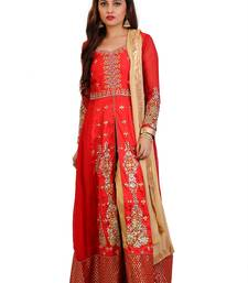 ccce9172e8 Red Embroidered Georgette Sami stitched Anarkali with Pant