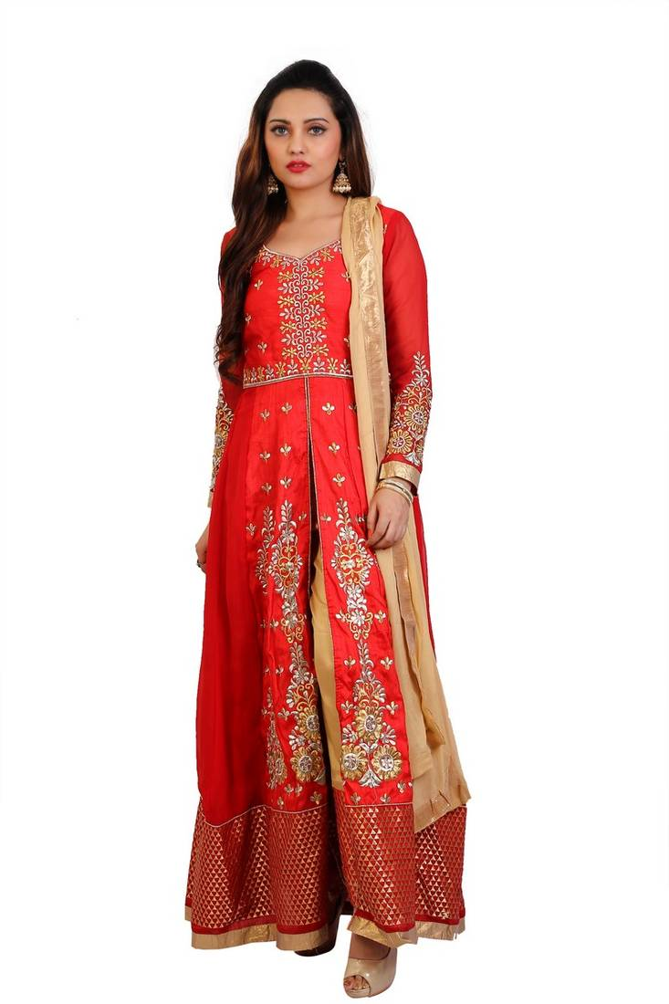 86f5063154 Red Embroidered Georgette Sami stitched Anarkali with Pant ...
