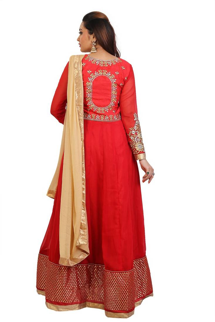 5593b561d4 ... Red Embroidered Georgette Sami stitched Anarkali with Pant