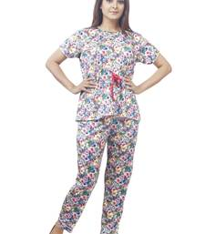 IMJI Nightwear Multicoloured Floral Printed Knitted Pajama Set With Short For Women