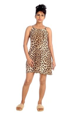 IMJI Nightwear Cheetah Printed Brown Spaghetti Knitted Short Nighty For Women Size S & L