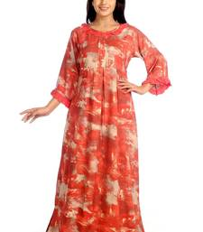 IMJI Nightwear Printed Red Full Sleeves Rayon Long Nighty For Women Size S & L