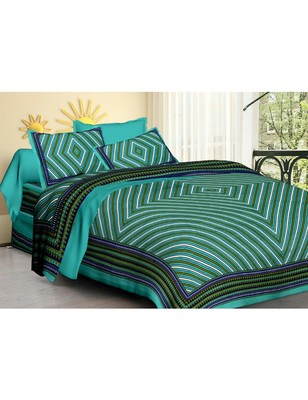 Rudra 100% Cotton  Pure Double Bedspread Bedsheet Bed Cover with 2 Pillow Covers New Trend Traditional Blue