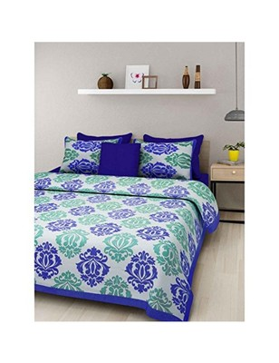 971a37adb0 Rudra 100% Cotton Rajasthani Jaipuri Sanganeri Traditional Double Bed Sheet  with 2 Pillow Covers - RUDRA - 2806212